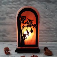 Соляная лампа Кот на дереве 2-3 кг из гималайской соли